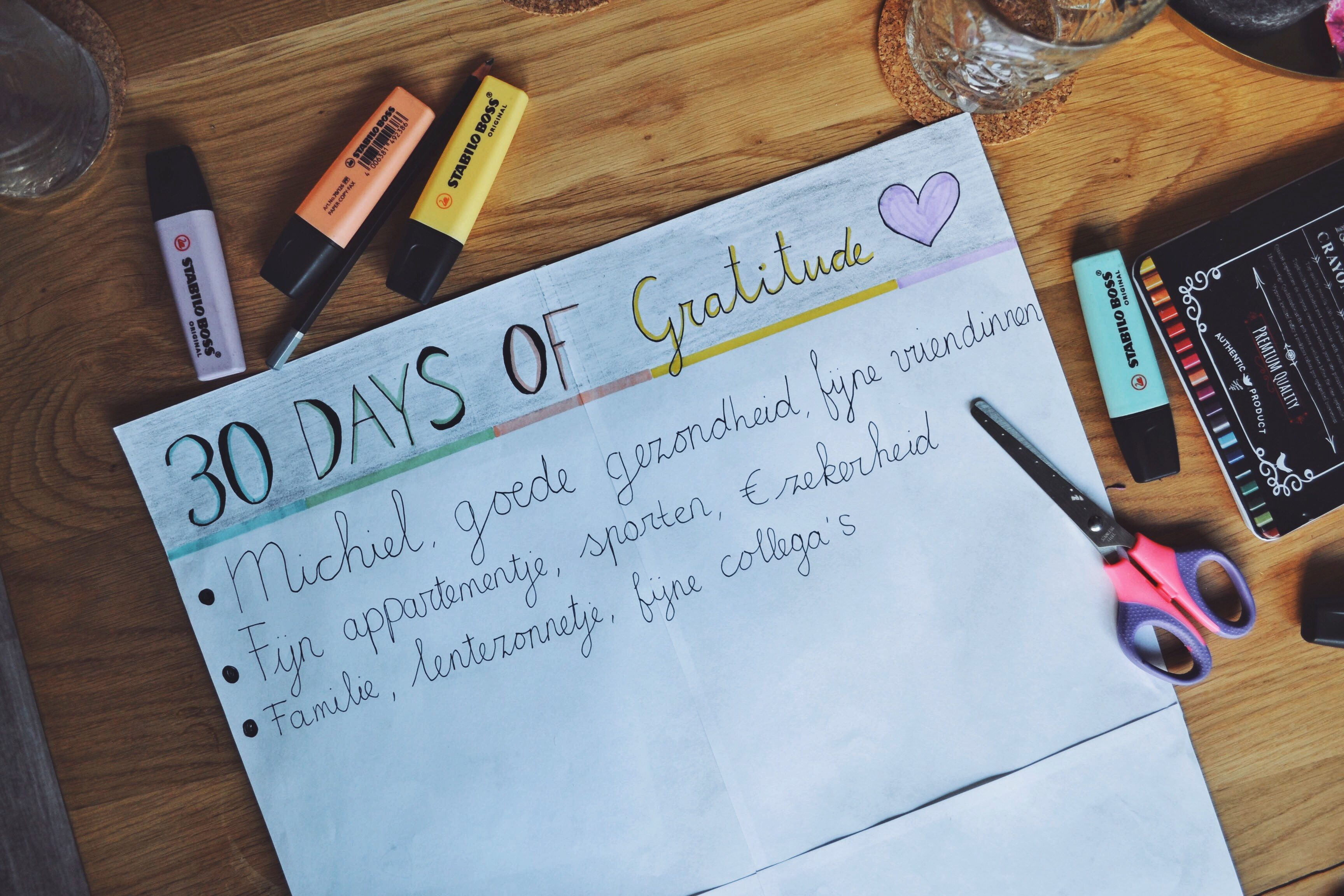 Persoonlijke update + '30 days of gratitude'.